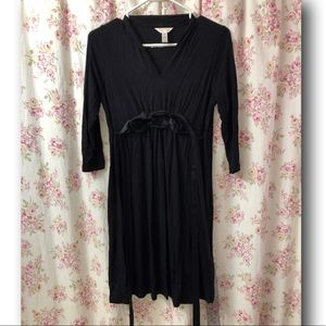 Black Maternity Dress Small Tie Waist with Flowers